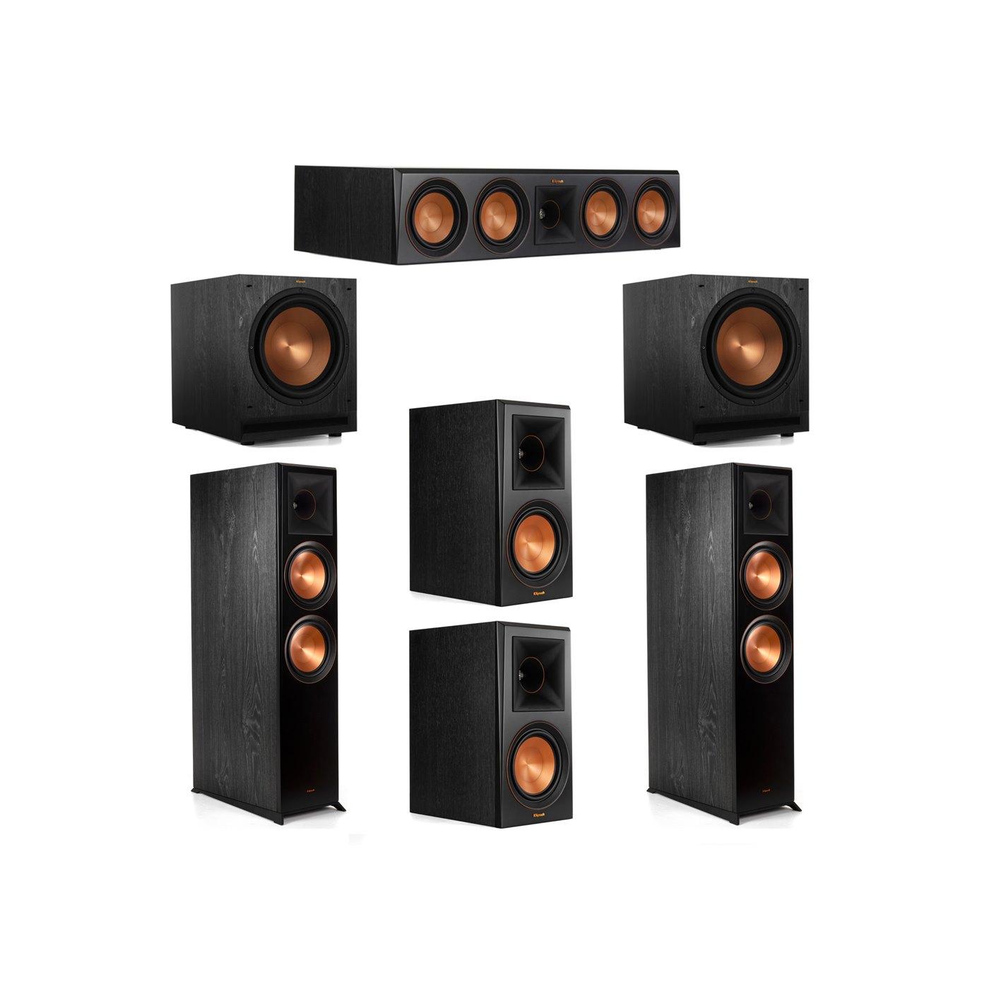 Klipsch 5.2 System with 2 RP-8000F Floorstanding Speakers, 1 Klipsch RP-504C Center Speaker, 2 Klipsch RP-600M Surround Speakers, 2 Klipsch SPL-120 Subwoofers