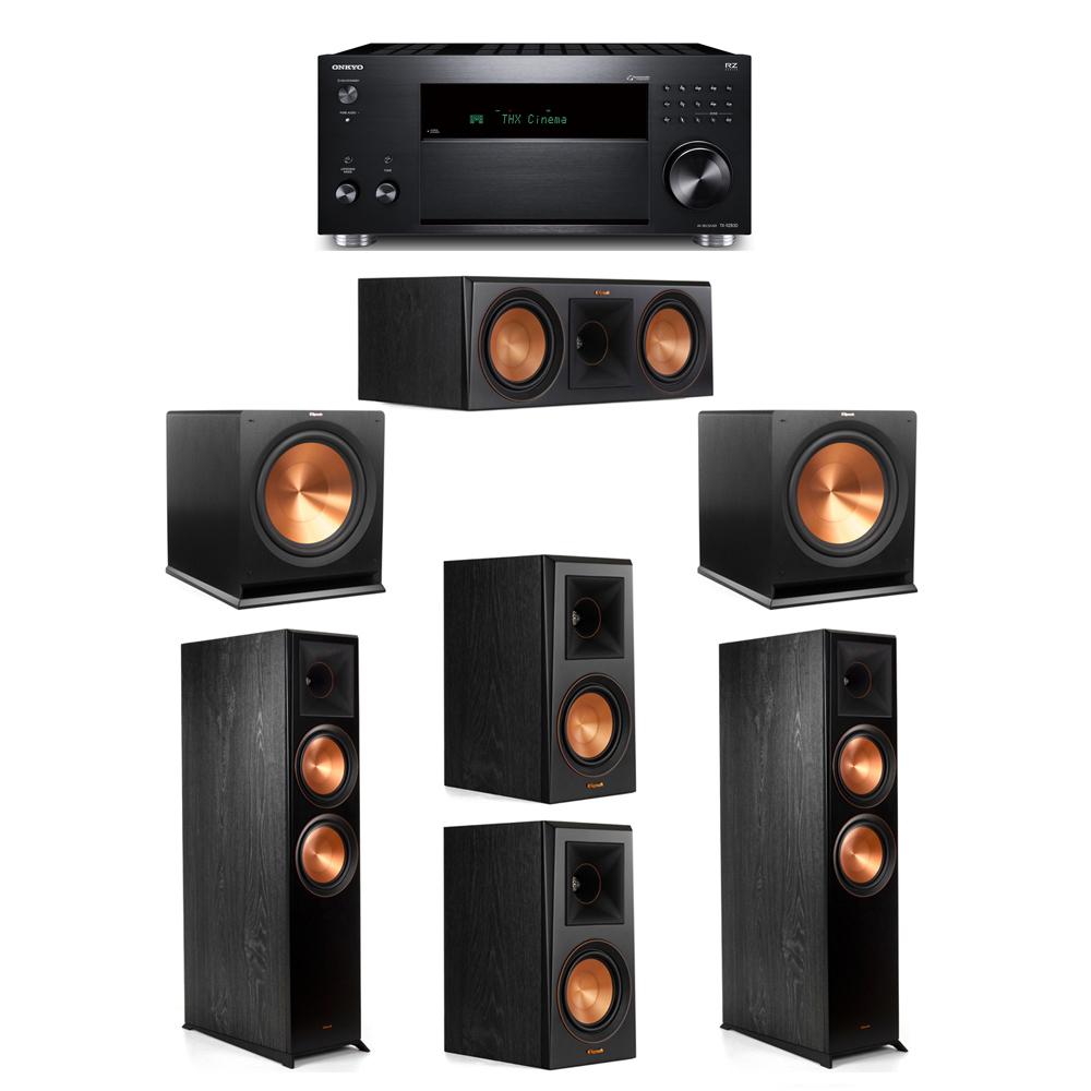 Klipsch 5.2 System with 2 RP-8000F, 1 RP-600C, 2 RP-500M, 2 R-115SW, 1 Onkyo TX-RZ830 Receiver