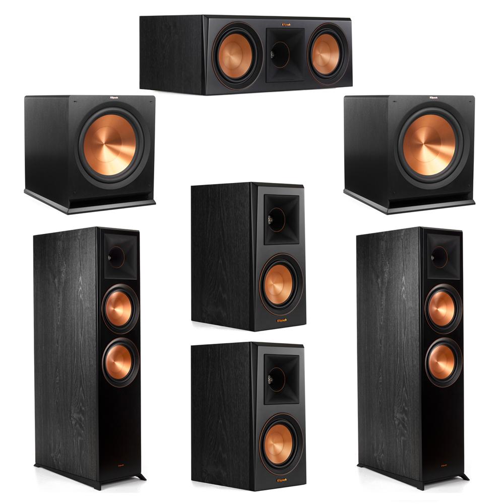 Klipsch 5.2 System with 2 RP-8000F Floorstanding Speakers, 1 Klipsch RP-600C Center Speaker, 2 Klipsch RP-500M Surround Speakers, 2 Klipsch R-115SW Subwoofers