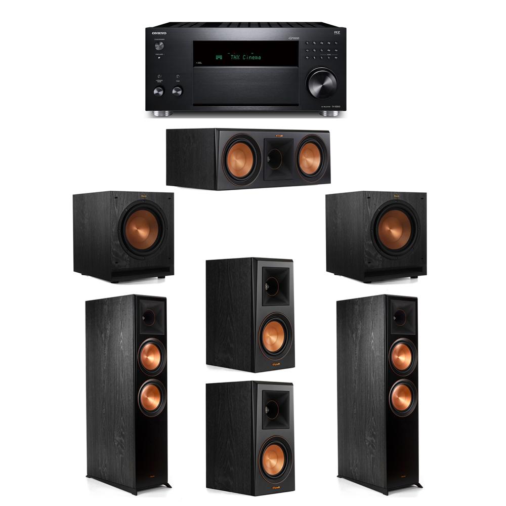 Klipsch 5.2 System with 2 RP-8000F, 1 RP-600C, 2 RP-500M, 2 SPL-100, 1 Onkyo TX-RZ830 Receiver