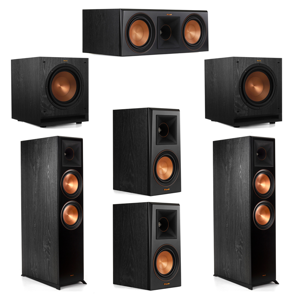 Klipsch 5.2 System with 2 RP-8000F Floorstanding Speakers, 1 Klipsch RP-600C Center Speaker, 2 Klipsch RP-500M Surround Speakers, 2 Klipsch SPL-100 Subwoofers