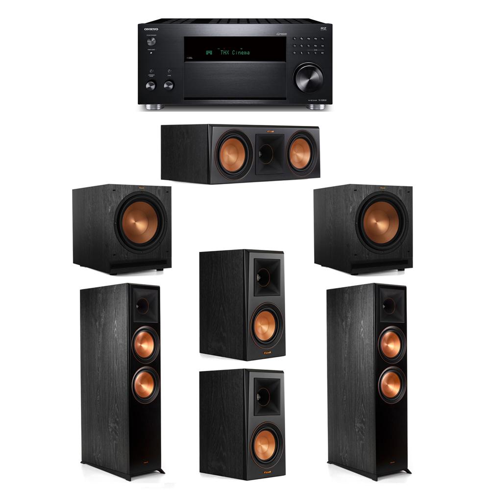 Klipsch 5.2 System with 2 RP-8000F, 1 RP-600C, 2 RP-500M, 2 SPL-120, 1 Onkyo TX-RZ830 Receiver