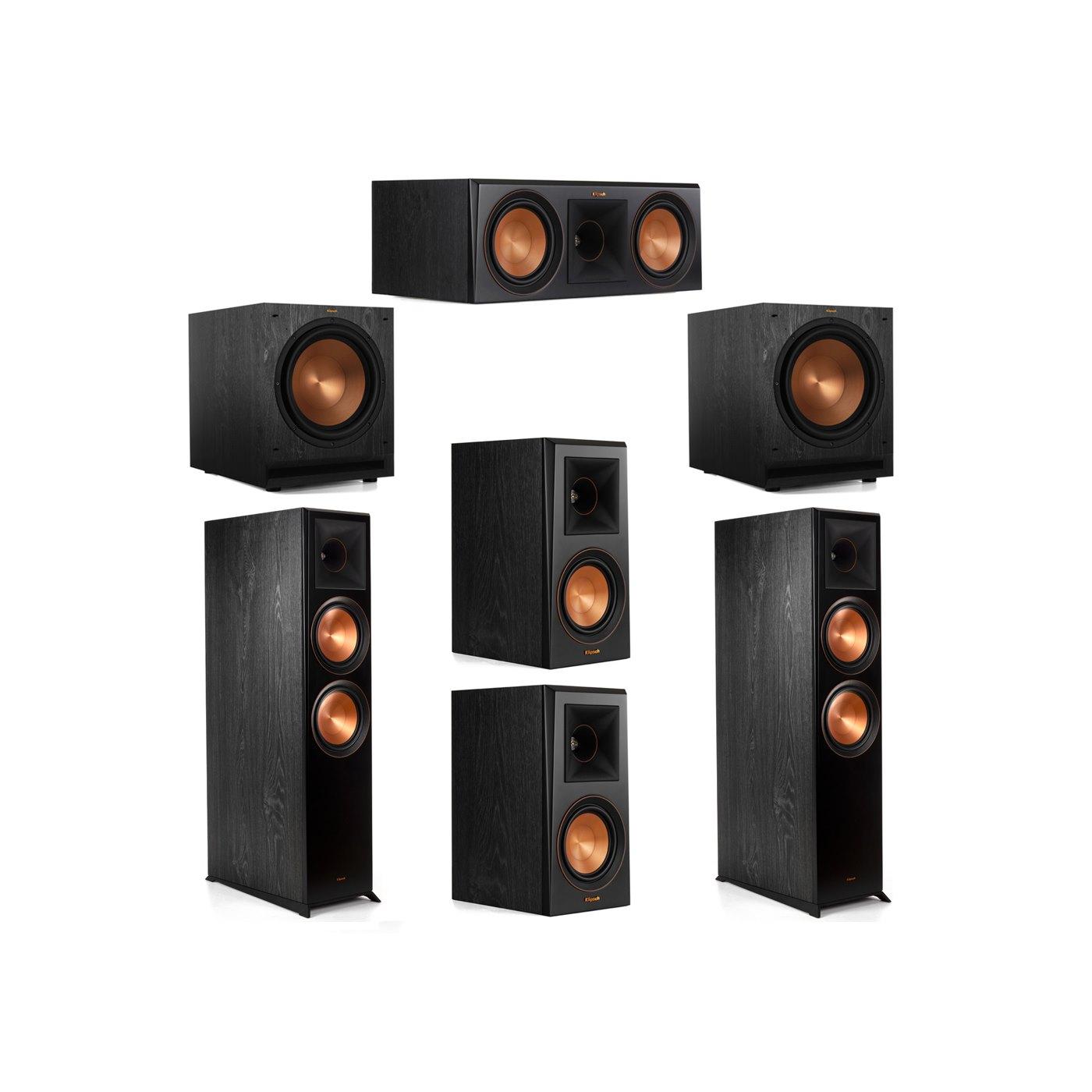 Klipsch 5.2 System with 2 RP-8000F Floorstanding Speakers, 1 Klipsch RP-600C Center Speaker, 2 Klipsch RP-500M Surround Speakers, 2 Klipsch SPL-120 Subwoofers