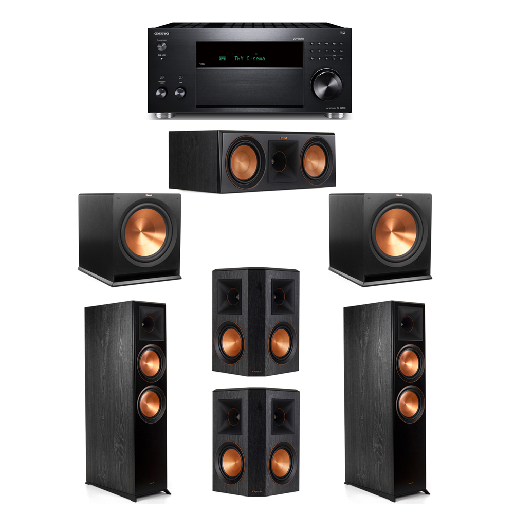 Klipsch 5.2 System with 2 RP-8000F, 1 RP-600C, 2 RP-502S, 2 R-115SW, 1 Onkyo TX-RZ830 Receiver