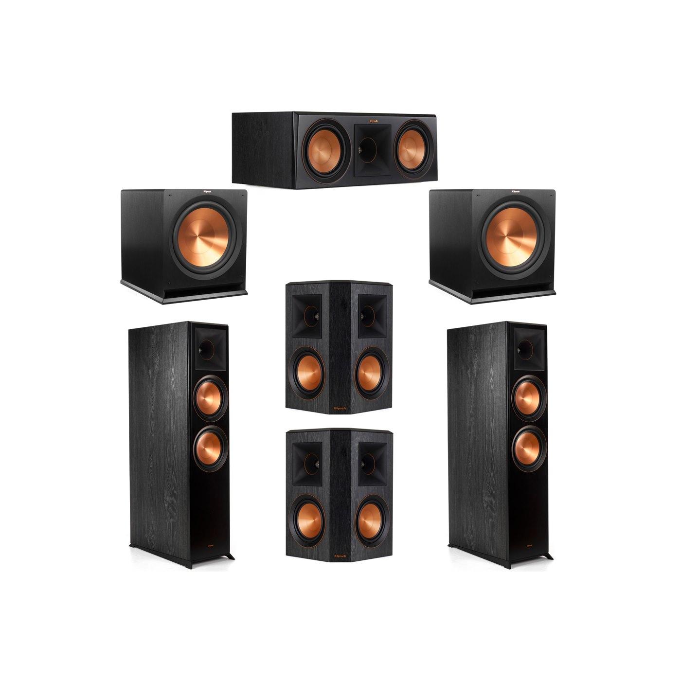 Klipsch 5.2 System with 2 RP-8000F Floorstanding Speakers, 1 Klipsch RP-600C Center Speaker, 2 Klipsch RP-502S Surround Speakers, 2 Klipsch R-115SW Subwoofers