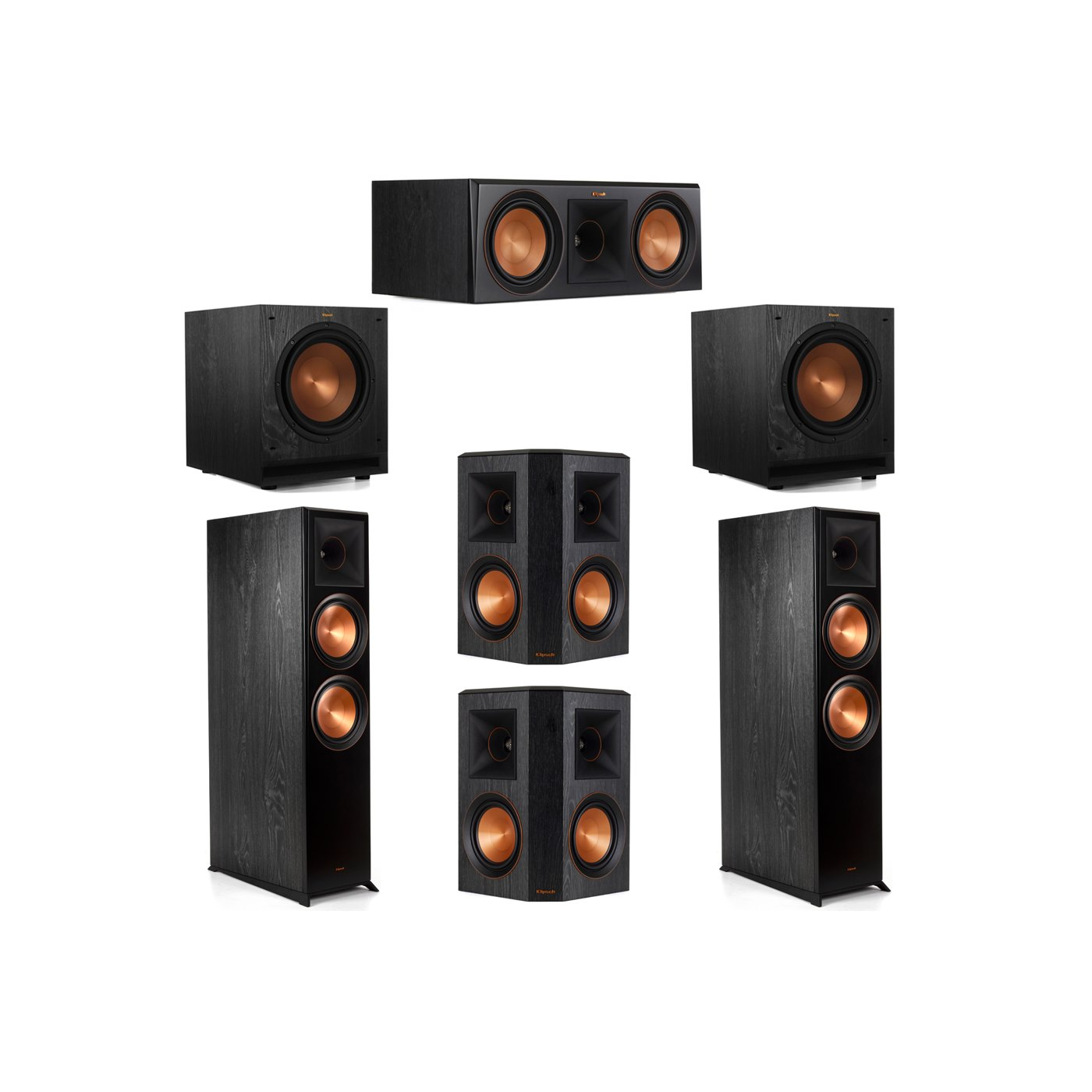 Klipsch 5.2 System with 2 RP-8000F Floorstanding Speakers, 1 Klipsch RP-600C Center Speaker, 2 Klipsch RP-502S Surround Speakers, 2 Klipsch SPL-100 Subwoofers