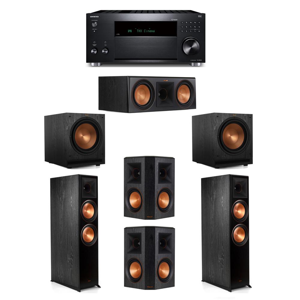 Klipsch 5.2 System with 2 RP-8000F, 1 RP-600C, 2 RP-502S, 2 SPL-120, 1 Onkyo TX-RZ830 Receiver