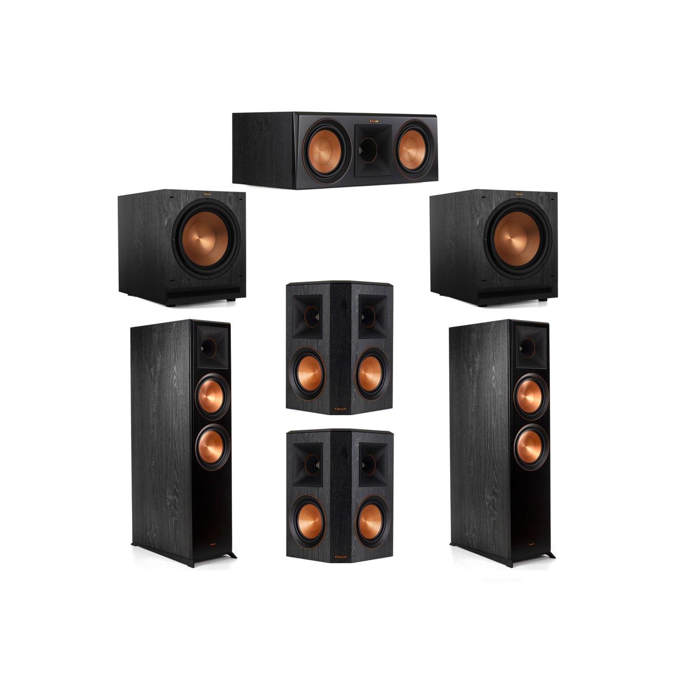 Klipsch 5.2 System with 2 RP-8000F Floorstanding Speakers, 1 Klipsch RP-600C Center Speaker, 2 Klipsch RP-502S Surround Speakers, 2 Klipsch SPL-120 Subwoofers
