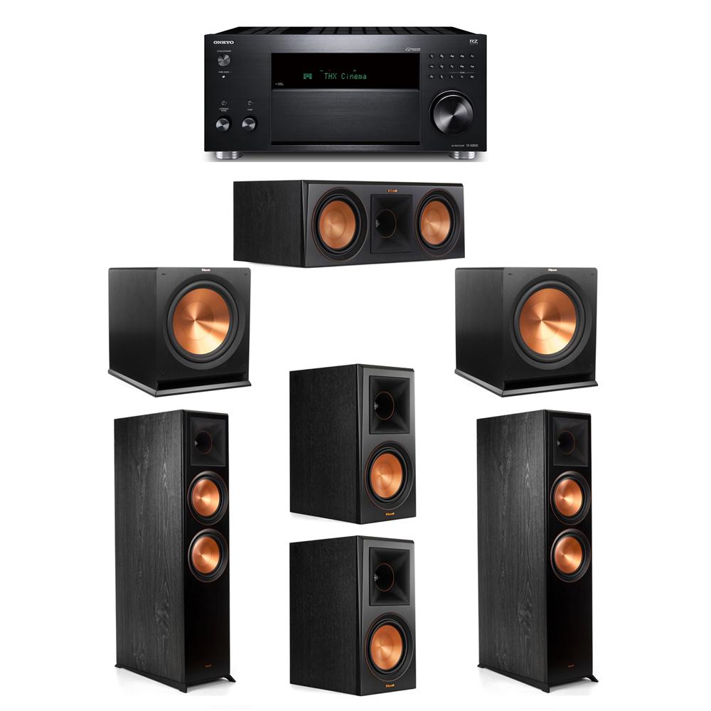 Klipsch 5.2 System with 2 RP-8000F, 1 RP-600C, 2 RP-600M, 2 R-115SW, 1 Onkyo TX-RZ830 Receiver