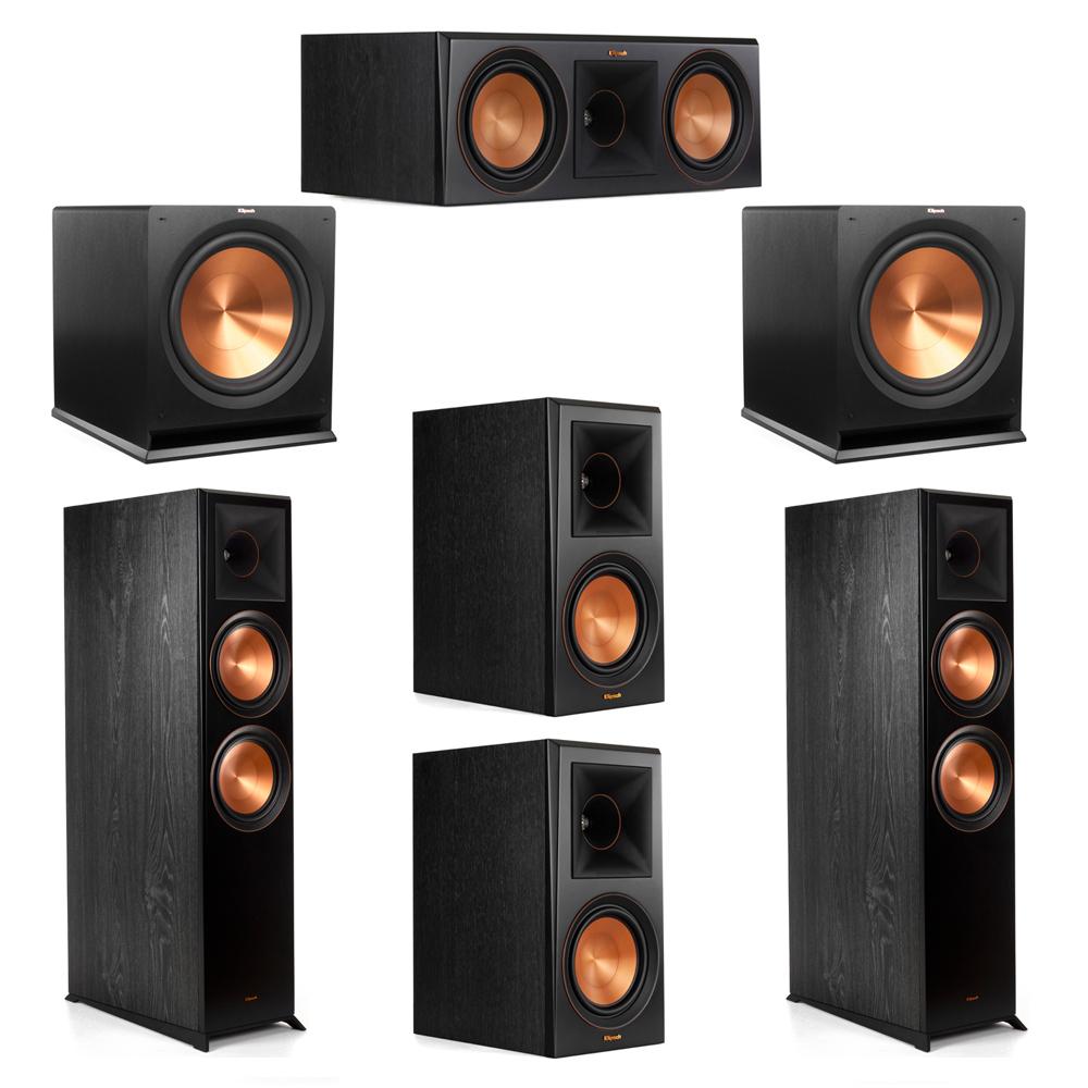 Klipsch 5.2 System with 2 RP-8000F Floorstanding Speakers, 1 Klipsch RP-600C Center Speaker, 2 Klipsch RP-600M Surround Speakers, 2 Klipsch R-115SW Subwoofers