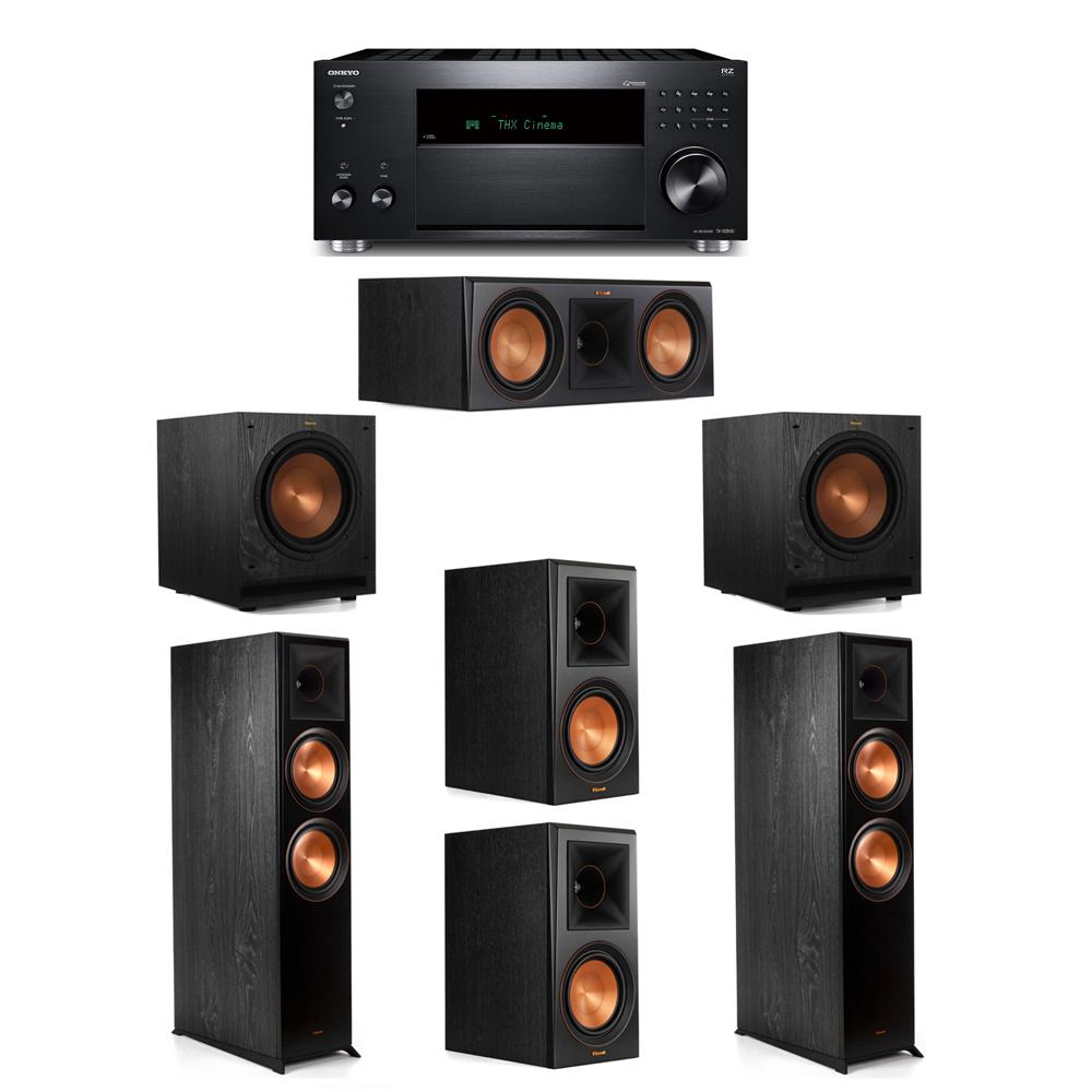 Klipsch 5.2 System with 2 RP-8000F, 1 RP-600C, 2 RP-600M, 2 SPL-100, 1 Onkyo TX-RZ830 Receiver