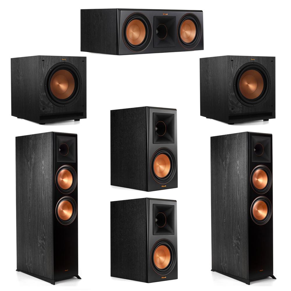 Klipsch 5.2 System with 2 RP-8000F Floorstanding Speakers, 1 Klipsch RP-600C Center Speaker, 2 Klipsch RP-600M Surround Speakers, 2 Klipsch SPL-100 Subwoofers