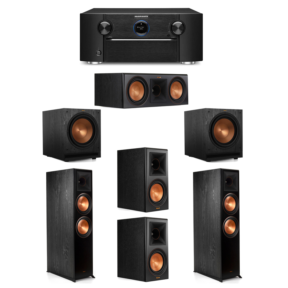 Klipsch 5.2 System with 2 RP-8000F Floorstanding Speakers, 1 Klipsch RP-600C Center Speaker, 2 Klipsch RP-600M Surround Speakers, 2 Klipsch SPL-120 Subwoofers, 1 Marantz SR7012 A/V Receiver
