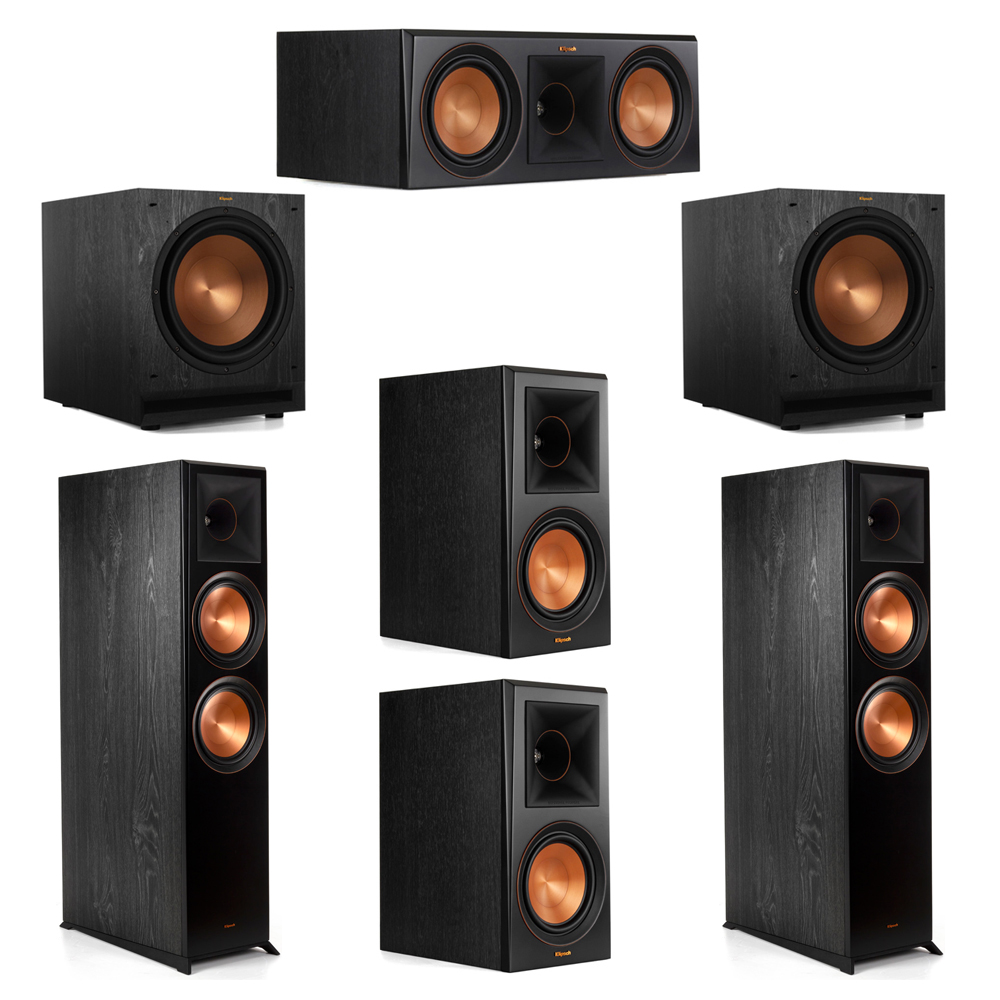 Klipsch 5.2 System with 2 RP-8000F Floorstanding Speakers, 1 Klipsch RP-600C Center Speaker, 2 Klipsch RP-600M Surround Speakers, 2 Klipsch SPL-120 Subwoofers