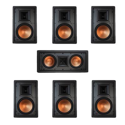Klipsch 7.0 In-Wall System with 2 R-5800-W II In-Wall Speakers, 1 Klipsch R-5502-W II In-Wall Speaker, 4 Klipsch R-5800-W II In-Wall Speakers