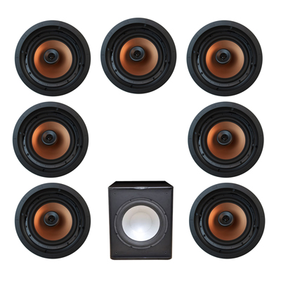 Klipsch 7.1 In-Wall System with 7 CDT-5800-C II In-Ceiling Speakers, 1 Premier Acoustic PA-150 Subwoofer
