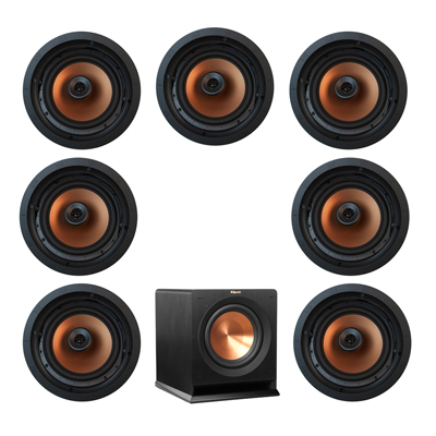 Klipsch 7.1 In-Wall System with 7 CDT-5800-C II In-Ceiling Speakers, 1 Klipsch R-110SW Subwoofer