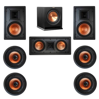 Klipsch 7.1 In-Wall System with 2 R-3800-W II In-Wall Speakers, 1 Klipsch R-5502-W II In-Wall Speaker, 4 Klipsch CDT-3800-C II In-Ceiling Speakers, 1 Klipsch R-110SW Subwoofer