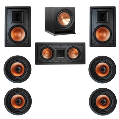 Klipsch 7.1 In-Wall System with 2 R-3800-W II In-Wall Speakers, 1 Klipsch R-5502-W II In-Wall Speaker, 4 Klipsch CDT-3800-C II In-Ceiling Speakers, 1 Klipsch R-112SW Subwoofer