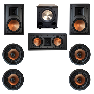 Klipsch 7.1 In-Wall System with 2 R-5800-W II In-Wall Speakers, 1 Klipsch R-5502-W II In-Wall Speaker, 4 Klipsch CDT-5800-C II , 1 BIC/Acoustech Platinum Series PL-200 II Subwoofer