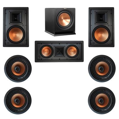 Klipsch 7.1 In-Wall System with 2 R-5800-W II In-Wall Speakers, 1 Klipsch R-5502-W II In-Wall Speaker, 4 Klipsch CDT-5800-C II , 1 Klipsch R-112SW Subwoofer