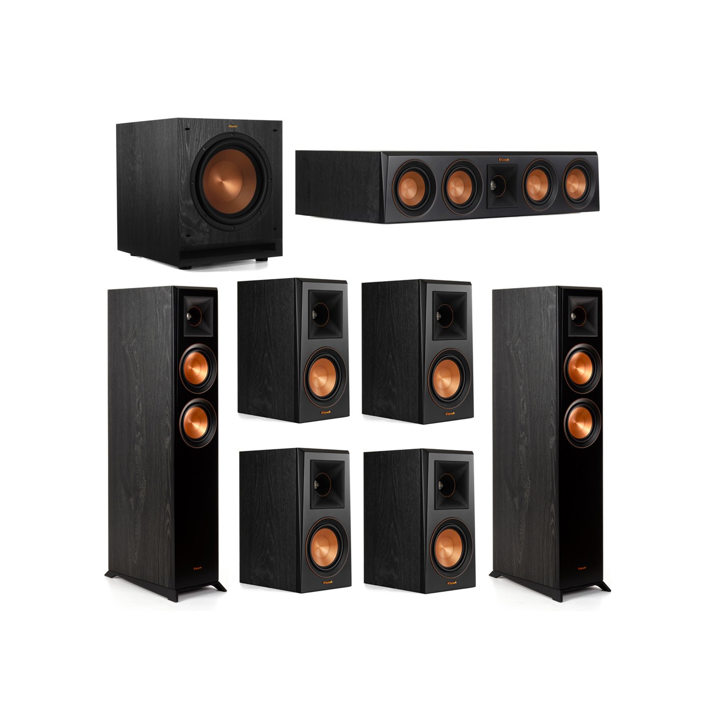 Klipsch 7.1 System with 2 RP-5000F Floorstanding Speakers, 1 Klipsch RP-404C Center Speaker, 4 Klipsch RP-500M Surround Speakers, 1 Klipsch SPL-100 Subwoofer