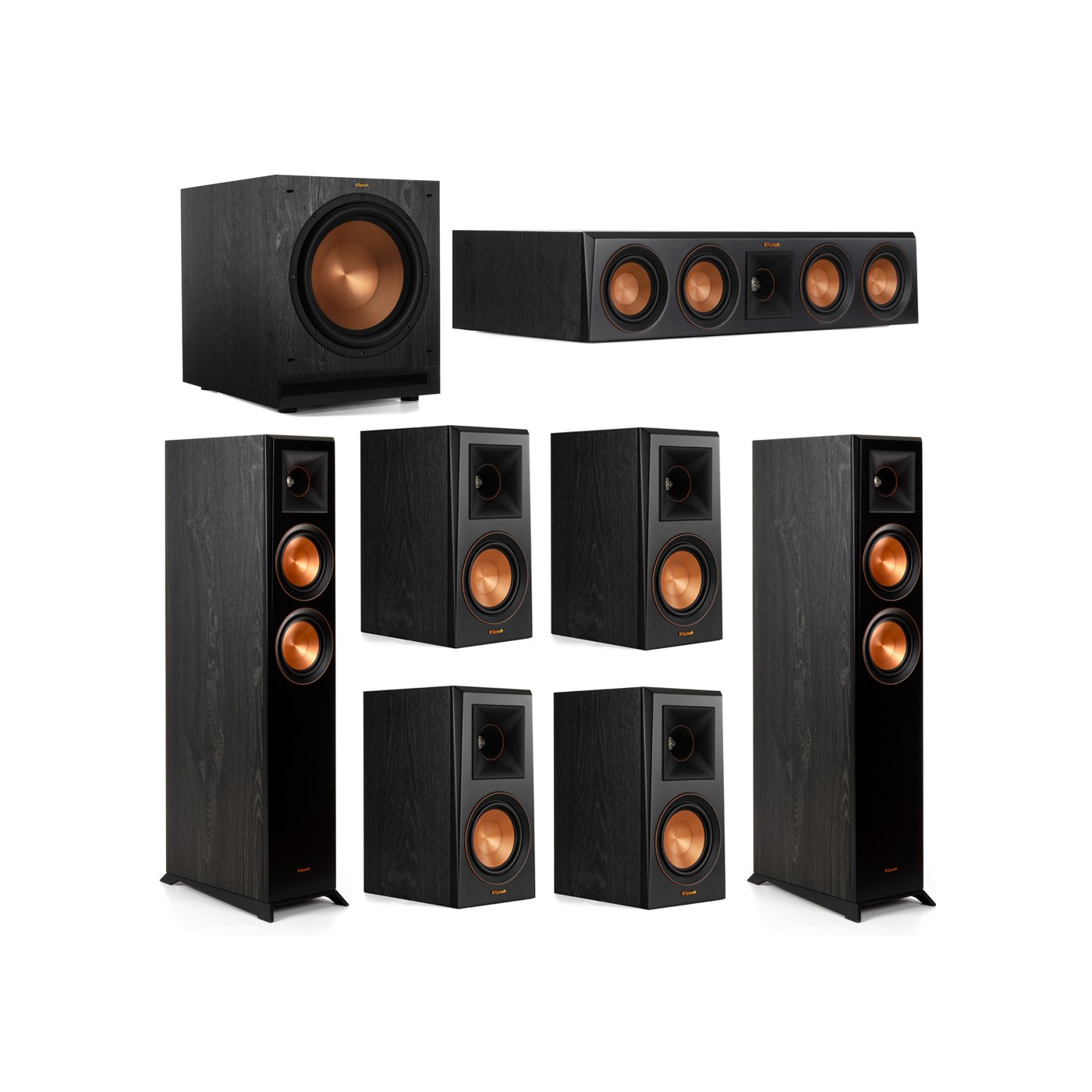 Klipsch 7.1 System with 2 RP-5000F Floorstanding Speakers, 1 Klipsch RP-404C Center Speaker, 4 Klipsch RP-500M Surround Speakers, 1 Klipsch SPL-120 Subwoofer