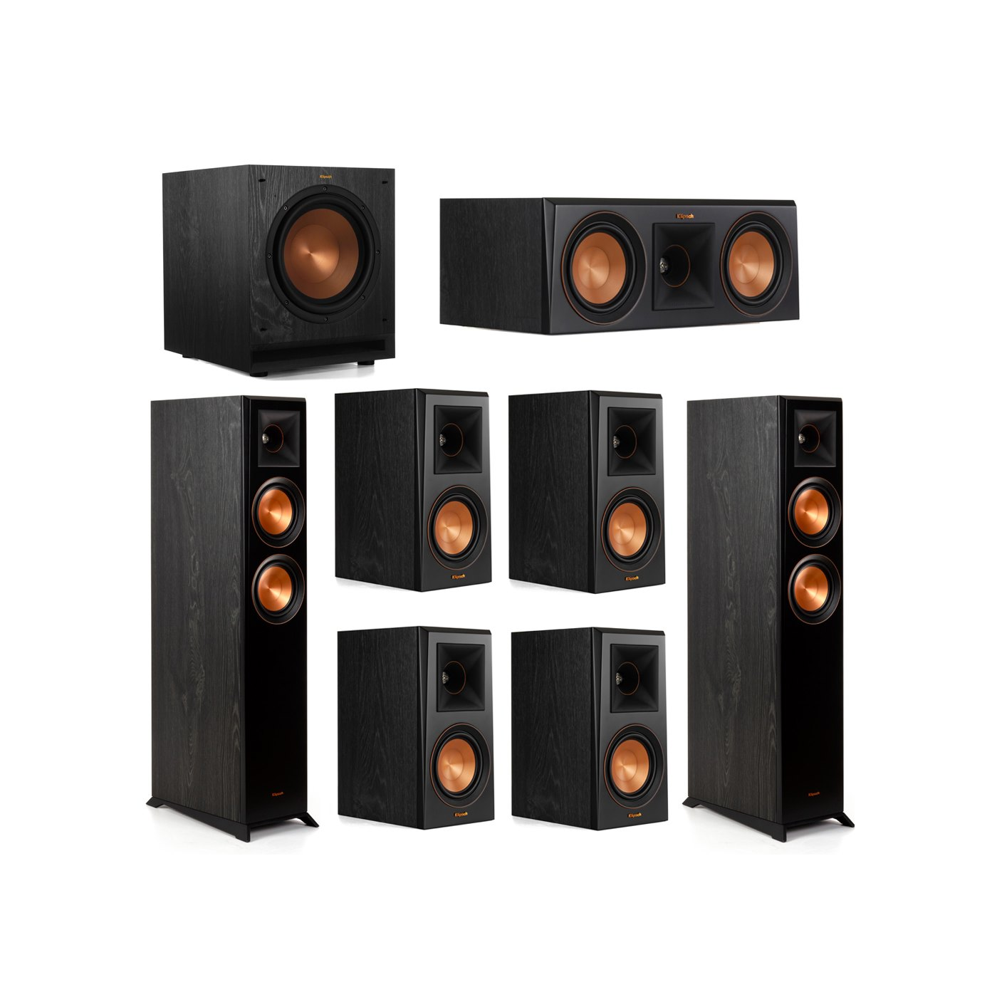 Klipsch 7.1 System with 2 RP-5000F Floorstanding Speakers, 1 Klipsch RP-500C Center Speaker, 4 Klipsch RP-500M Surround Speakers, 1 Klipsch SPL-100 Subwoofer