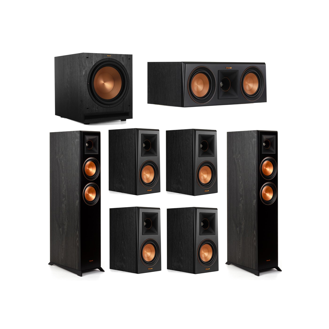 Klipsch 7.1 System with 2 RP-5000F Floorstanding Speakers, 1 Klipsch RP-500C Center Speaker, 4 Klipsch RP-500M Surround Speakers, 1 Klipsch SPL-120 Subwoofer