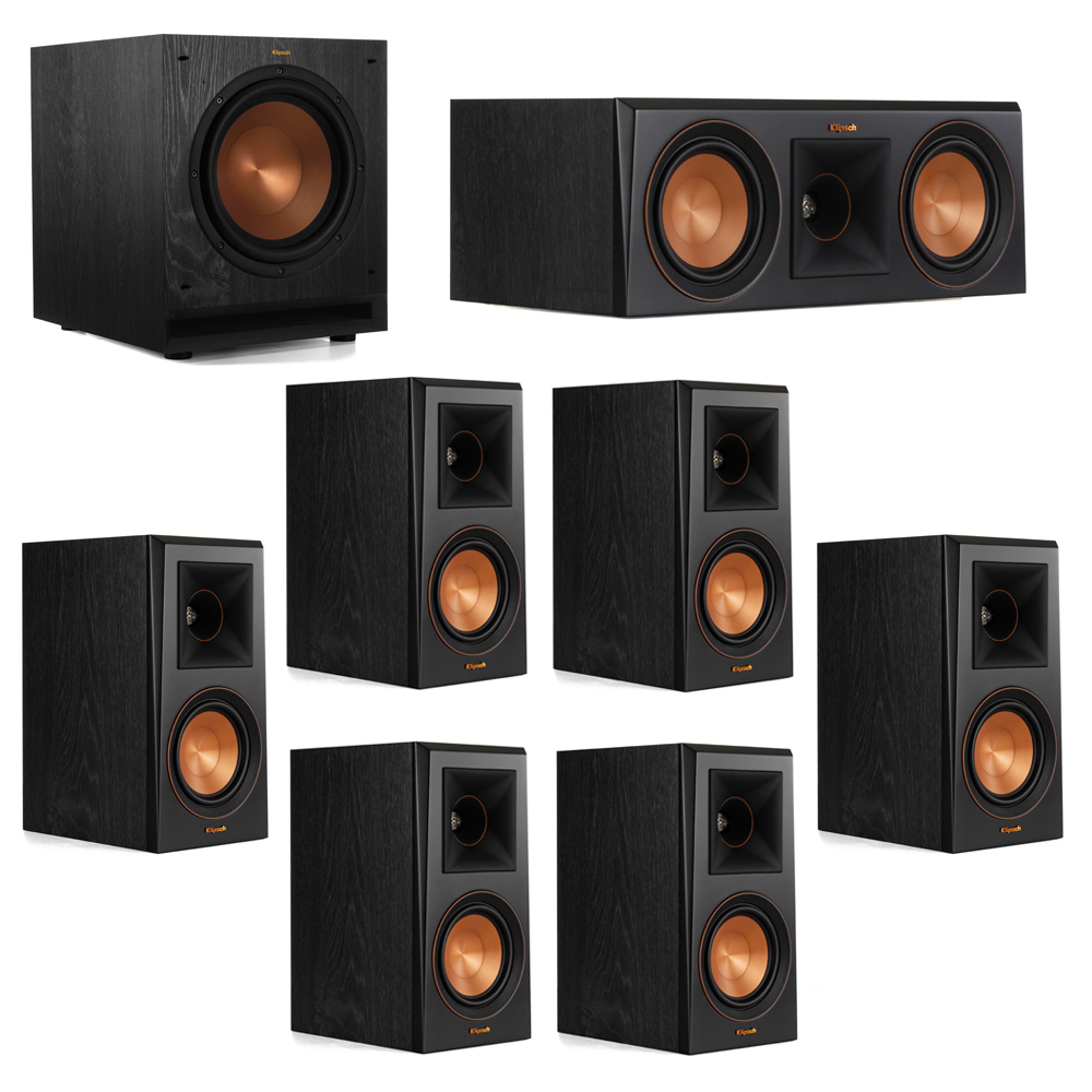 Klipsch 7.1 System with 2 RP-500M Bookshelf Speakers, 1 Klipsch RP-500C Center Speaker, 4 Klipsch RP-500M Surround Speakers, 1 Klipsch SPL-100 Subwoofer
