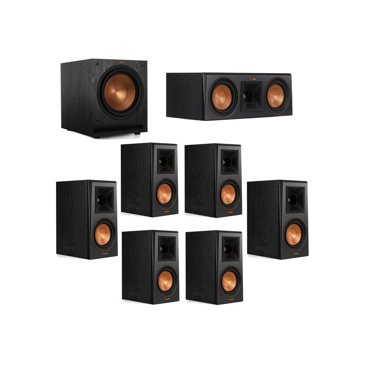 Klipsch 7.1 System with 2 RP-500M Bookshelf Speakers, 1 Klipsch RP-500C Center Speaker, 4 Klipsch RP-500M Surround Speakers, 1 Klipsch SPL-120 Subwoofer
