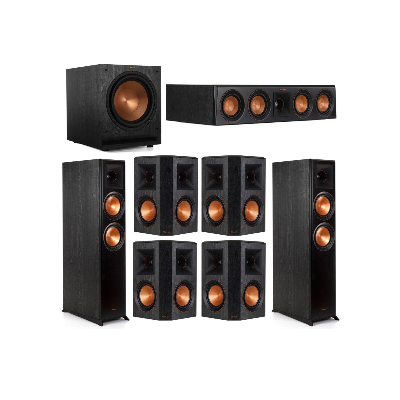 Klipsch 7.1 System with 2 RP-6000F Floorstanding Speakers, 1 Klipsch RP-404C Center Speaker, 4 Klipsch RP-502S Surround Speakers, 1 Klipsch SPL-120 Subwoofer