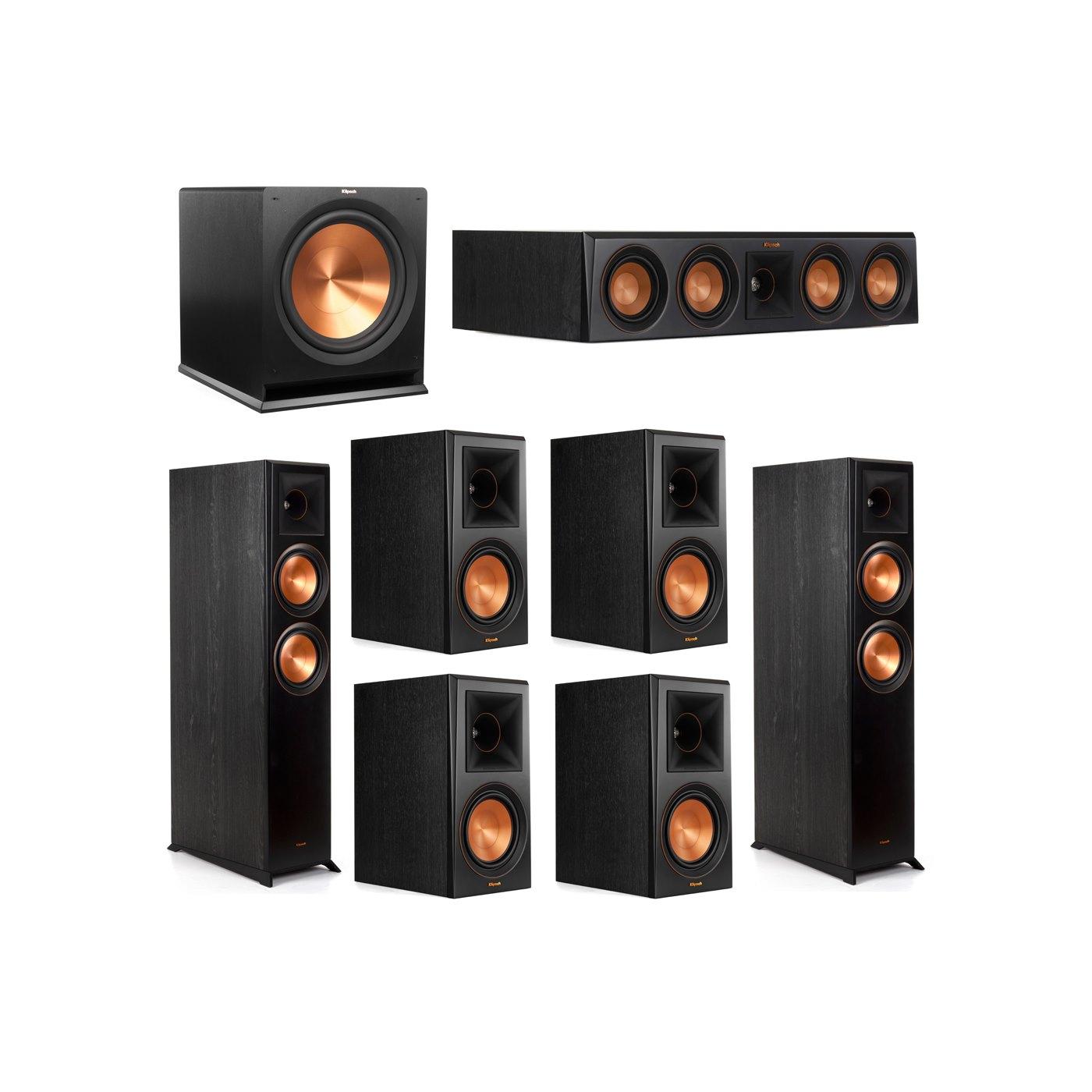 Klipsch 7.1 System with 2 RP-6000F Floorstanding Speakers, 1 Klipsch RP-404C Center Speaker, 4 Klipsch RP-600M Surround Speakers, 1 Klipsch R-115SW Subwoofer