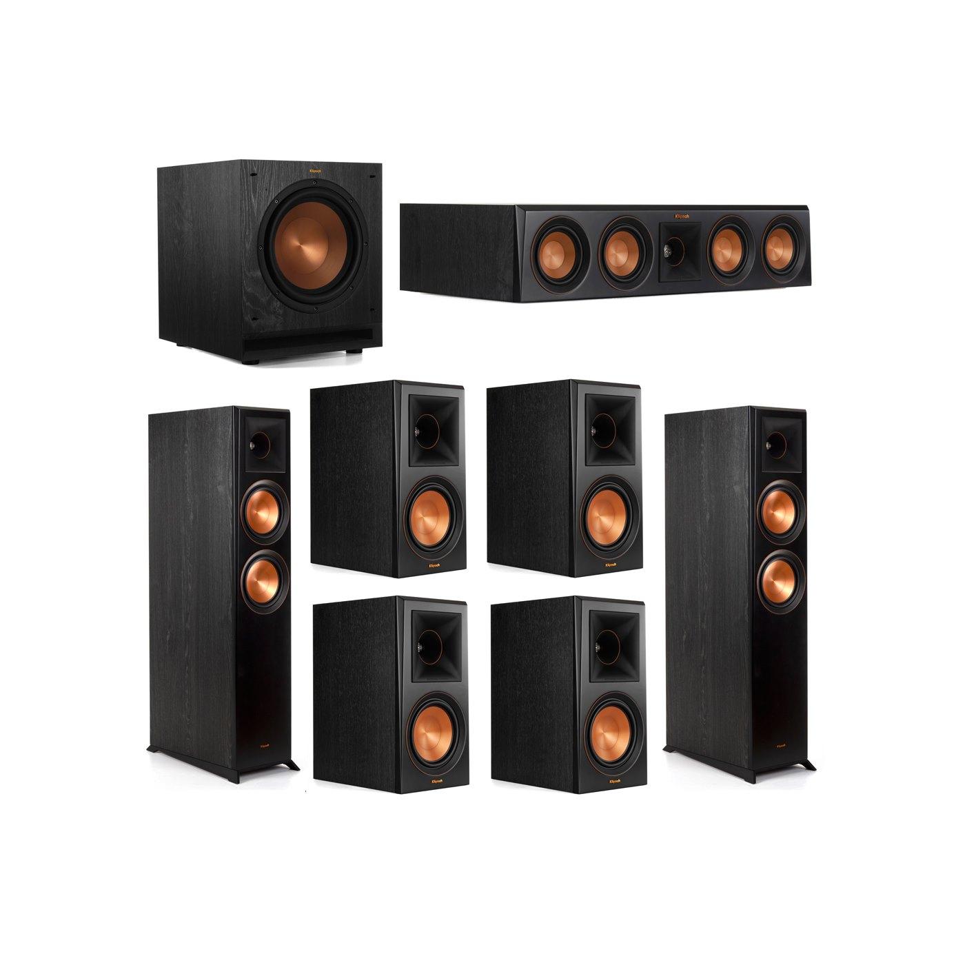 Klipsch 7.1 System with 2 RP-6000F Floorstanding Speakers, 1 Klipsch RP-404C Center Speaker, 4 Klipsch RP-600M Surround Speakers, 1 Klipsch SPL-100 Subwoofer