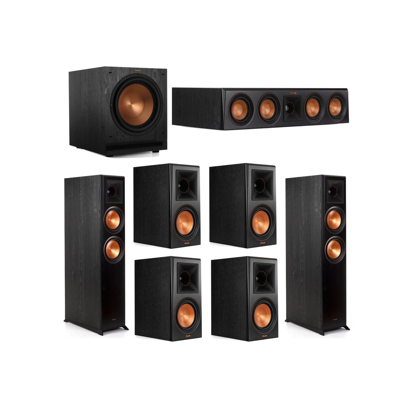 Klipsch 7.1 System with 2 RP-6000F Floorstanding Speakers, 1 Klipsch RP-404C Center Speaker, 4 Klipsch RP-600M Surround Speakers, 1 Klipsch SPL-120 Subwoofer