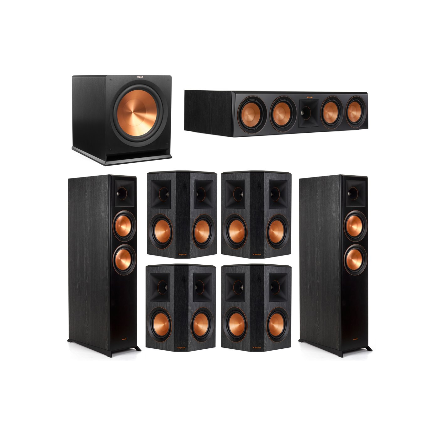 Klipsch 7.1 System with 2 RP-6000F Floorstanding Speakers, 1 Klipsch RP-504C Center Speaker, 4 Klipsch RP-502S Surround Speakers, 1 Klipsch R-115SW Subwoofer