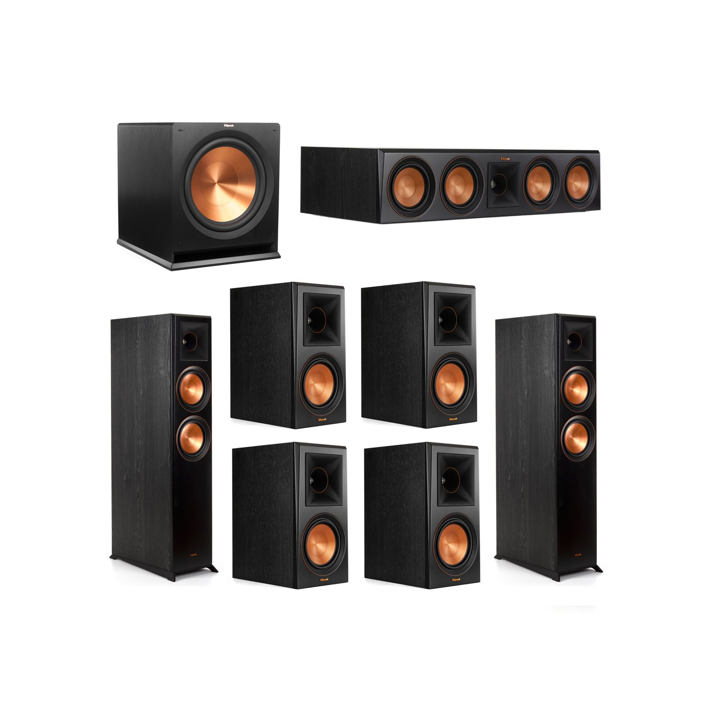 Klipsch 7.1 System with 2 RP-6000F Floorstanding Speakers, 1 Klipsch RP-504C Center Speaker, 4 Klipsch RP-600M Surround Speakers, 1 Klipsch R-115SW Subwoofer