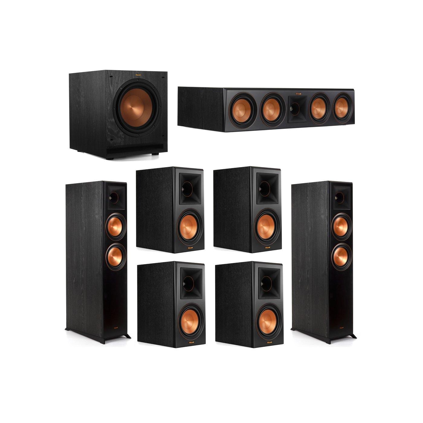 Klipsch 7.1 System with 2 RP-6000F Floorstanding Speakers, 1 Klipsch RP-504C Center Speaker, 4 Klipsch RP-600M Surround Speakers, 1 Klipsch SPL-100 Subwoofer