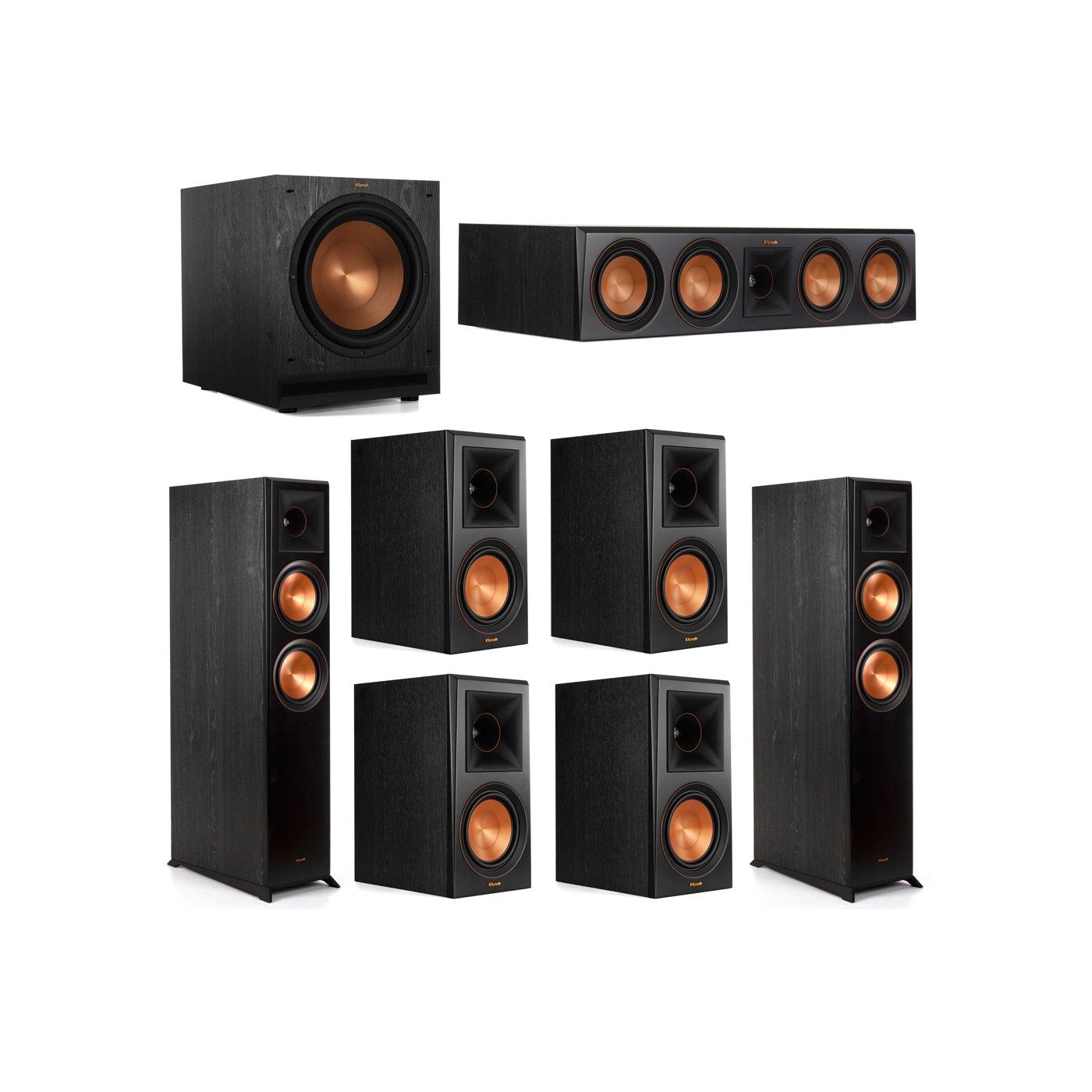 Klipsch 7.1 System with 2 RP-6000F Floorstanding Speakers, 1 Klipsch RP-504C Center Speaker, 4 Klipsch RP-600M Surround Speakers, 1 Klipsch SPL-120 Subwoofer