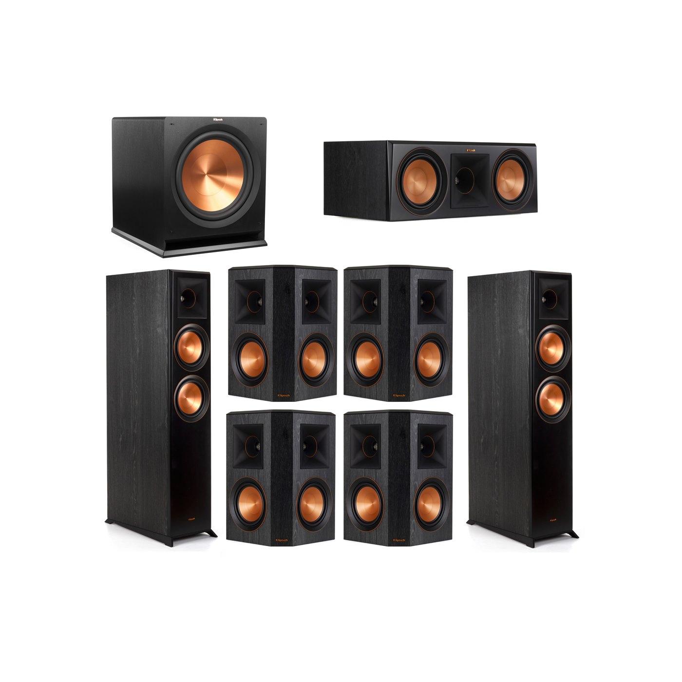 Klipsch 7.1 System with 2 RP-6000F Floorstanding Speakers, 1 Klipsch RP-600C Center Speaker, 4 Klipsch RP-502S Surround Speakers, 1 Klipsch R-115SW Subwoofer
