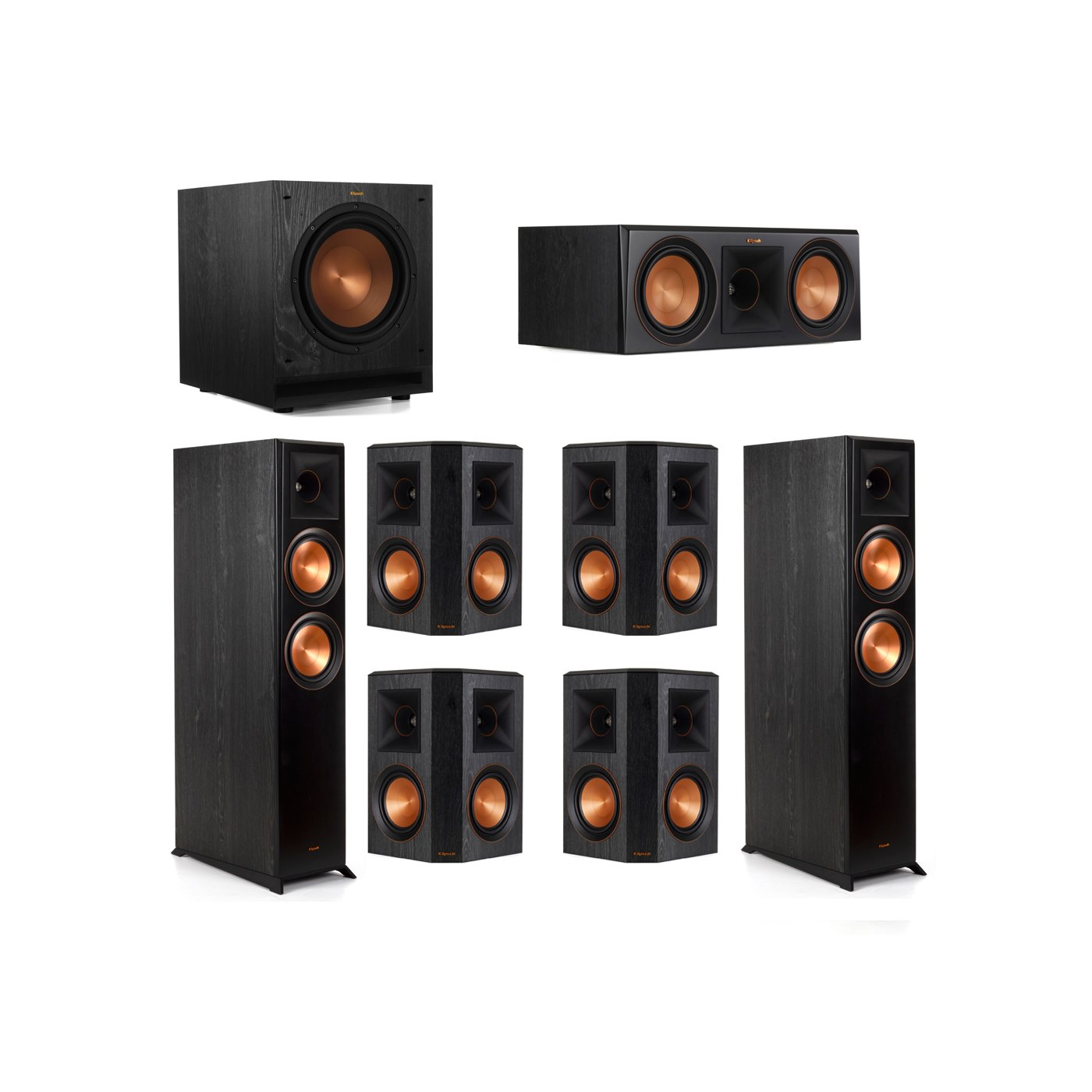 Klipsch 7.1 System with 2 RP-6000F Floorstanding Speakers, 1 Klipsch RP-600C Center Speaker, 4 Klipsch RP-502S Surround Speakers, 1 Klipsch SPL-100 Subwoofer