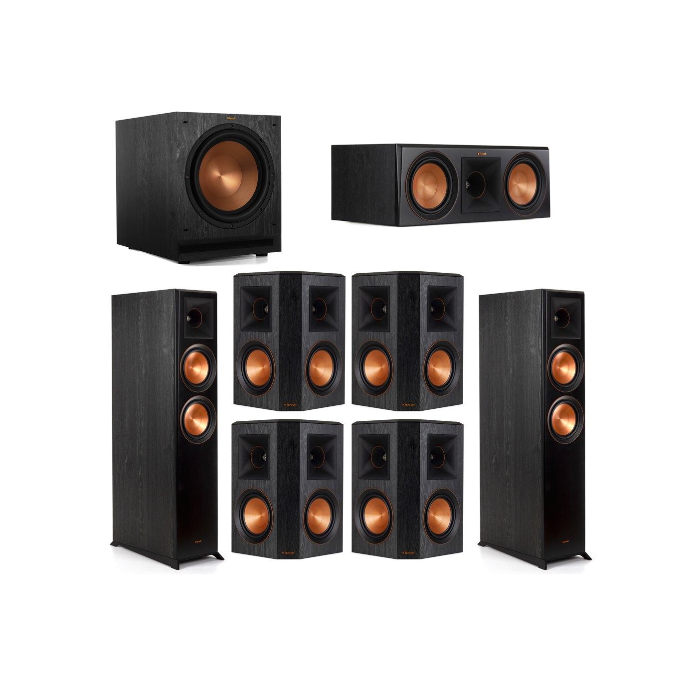 Klipsch 7.1 System with 2 RP-6000F Floorstanding Speakers, 1 Klipsch RP-600C Center Speaker, 4 Klipsch RP-502S Surround Speakers, 1 Klipsch SPL-120 Subwoofer