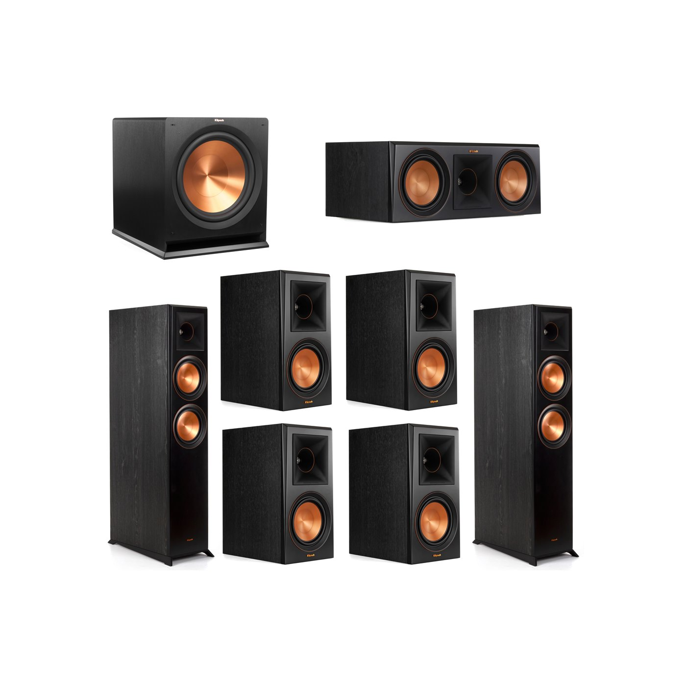 Klipsch 7.1 System with 2 RP-6000F Floorstanding Speakers, 1 Klipsch RP-600C Center Speaker, 4 Klipsch RP-600M Surround Speakers, 1 Klipsch R-115SW Subwoofer