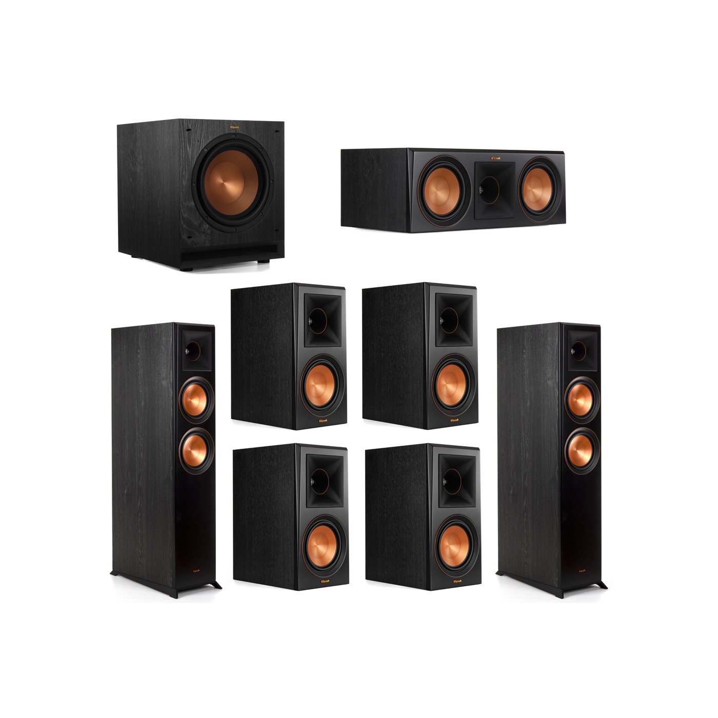 Klipsch 7.1 System with 2 RP-6000F Floorstanding Speakers, 1 Klipsch RP-600C Center Speaker, 4 Klipsch RP-600M Surround Speakers, 1 Klipsch SPL-100 Subwoofer