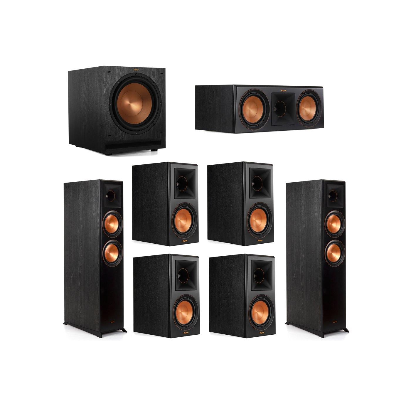 Klipsch 7.1 System with 2 RP-6000F Floorstanding Speakers, 1 Klipsch RP-600C Center Speaker, 4 Klipsch RP-600M Surround Speakers, 1 Klipsch SPL-120 Subwoofer