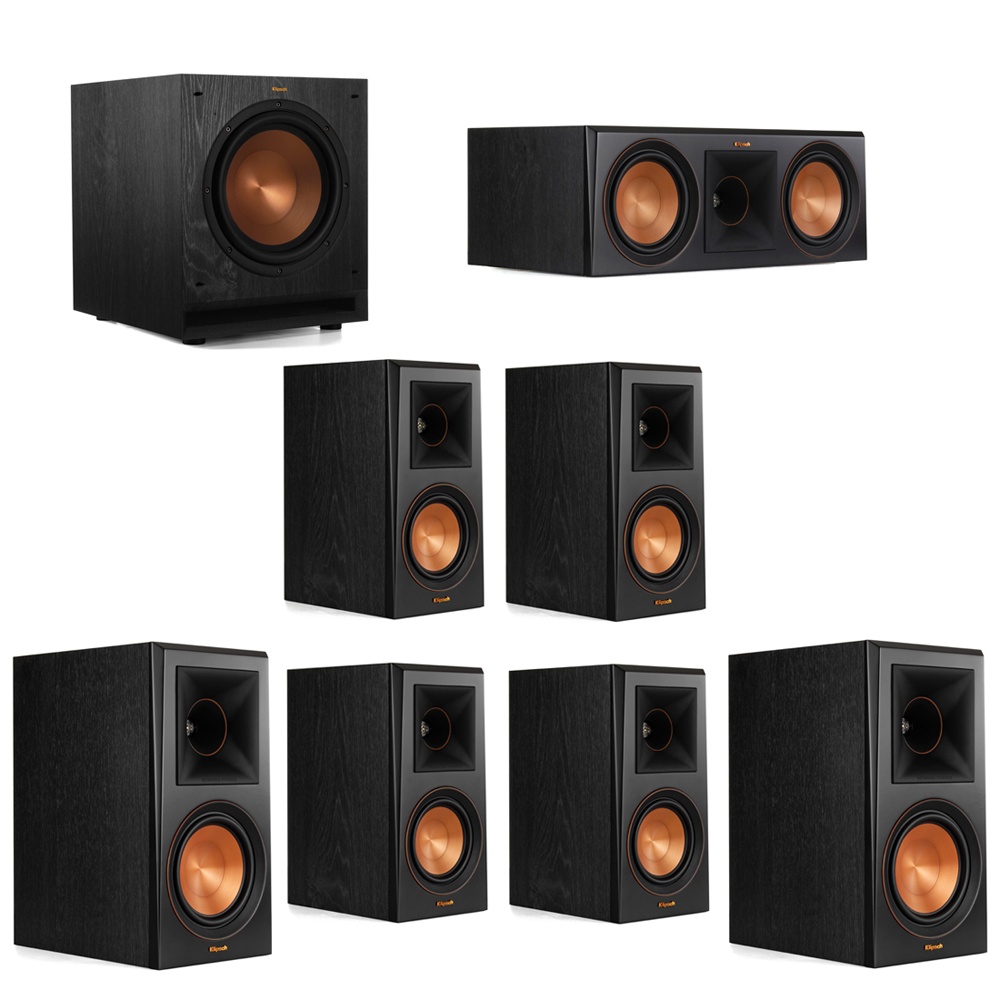 Klipsch 7.1 System with 2 RP-600M Bookshelf Speakers, 1 Klipsch RP-600C Center Speaker, 4 Klipsch RP-500M Surround Speakers, 1 Klipsch SPL-100 Subwoofer