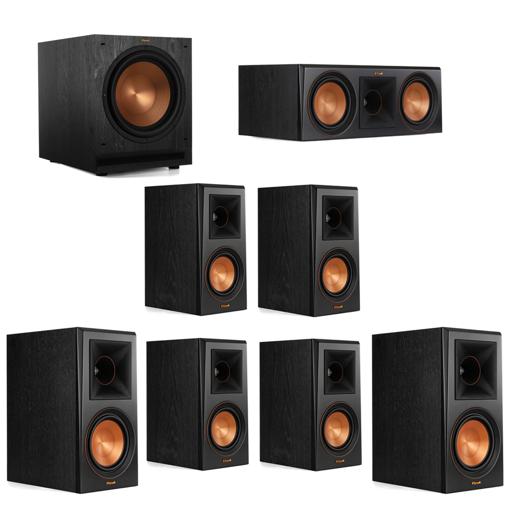 Klipsch 7.1 System with 2 RP-600M Bookshelf Speakers, 1 Klipsch RP-600C Center Speaker, 4 Klipsch RP-500M Surround Speakers, 1 Klipsch SPL-120 Subwoofer