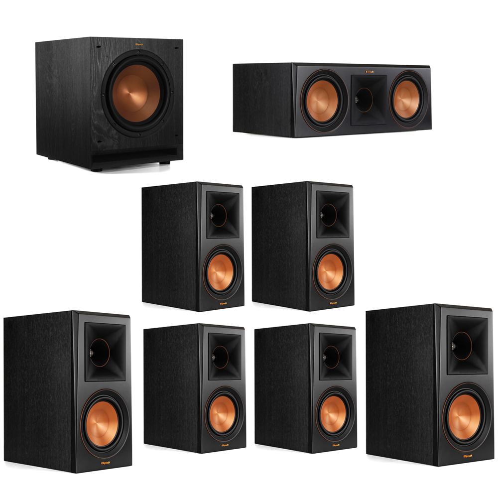 Klipsch 7.1 System with 2 RP-600M Bookshelf Speakers, 1 Klipsch RP-600C Center Speaker, 4 Klipsch RP-600M Surround Speakers, 1 Klipsch SPL-100 Subwoofer