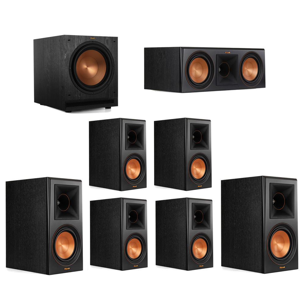 Klipsch 7.1 System with 2 RP-600M Bookshelf Speakers, 1 Klipsch RP-600C Center Speaker, 4 Klipsch RP-600M Surround Speakers, 1 Klipsch SPL-120 Subwoofer
