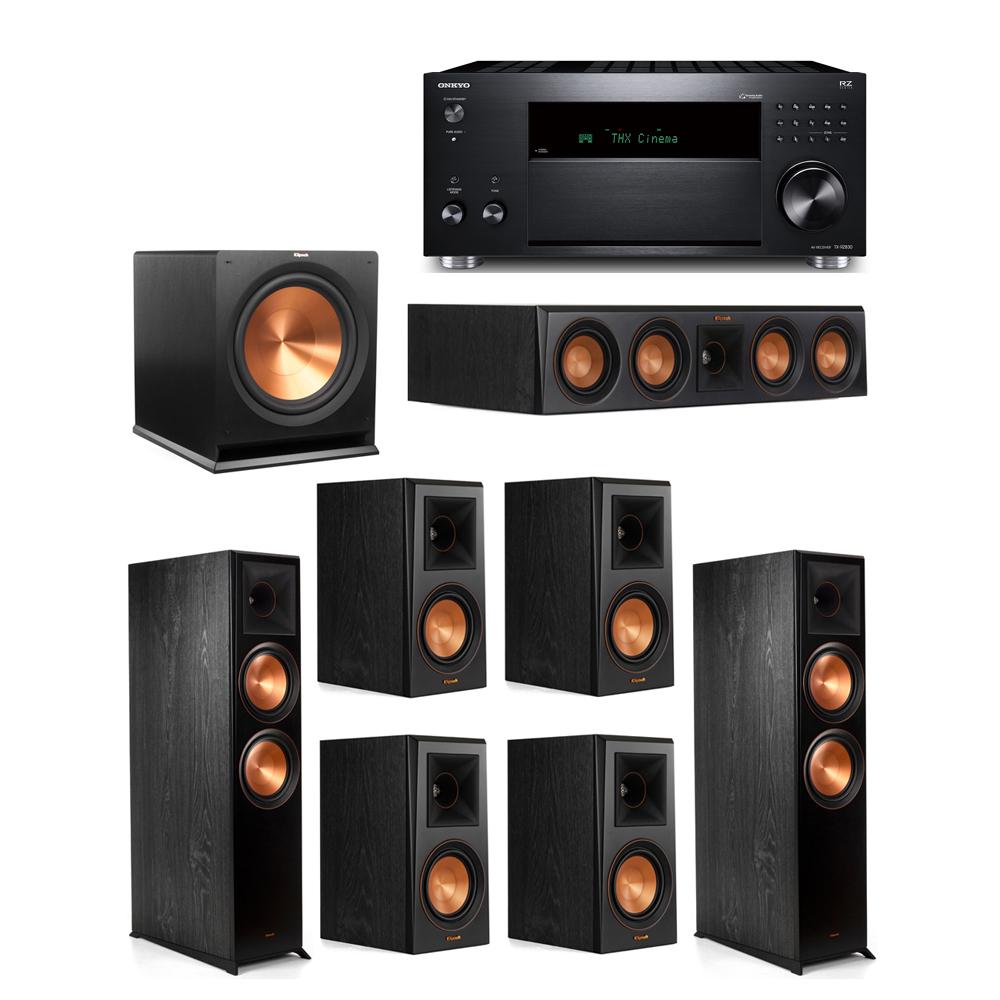 Klipsch 7.1 System with 2 RP-8000F, 1 RP-404C, 4 RP-500M, 1 R-115SW,  1 Onkyo TX-RZ830 Receiver
